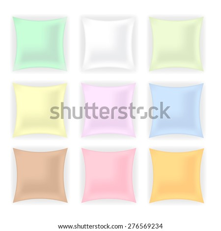 Set of Colorful Pillows isolated on White Background. - stock photo