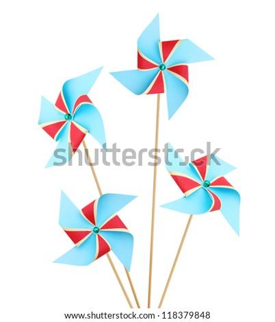 Set of colorful pinwheels toys on white - stock photo