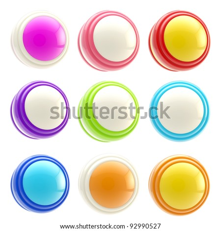 Set of colorful round glossy button templates isolated on white