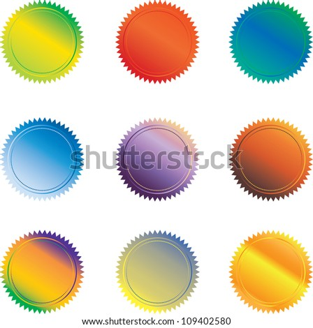 Set of 9 colorful Seal badged