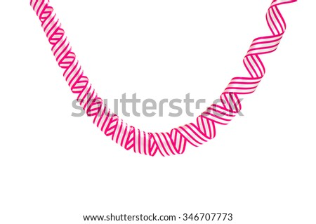 Set of colorful serpentine streamers isolated on white background
