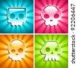 Set of colorful Skulls on Burst Background - stock photo