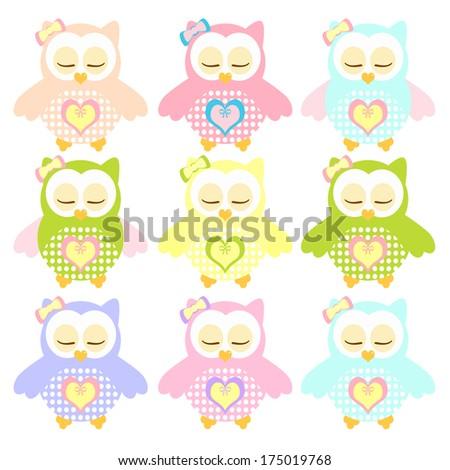 Set of Colorful sleepy Owl. Illustration of colorful sleepy owls with nine color combinations. Seamless patterns. - stock photo