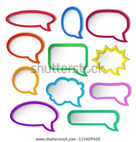 Set of colorful speech bubble frames. - stock photo