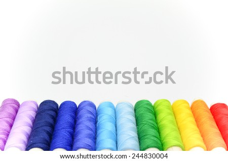 Set of colorful spools of thread - stock photo