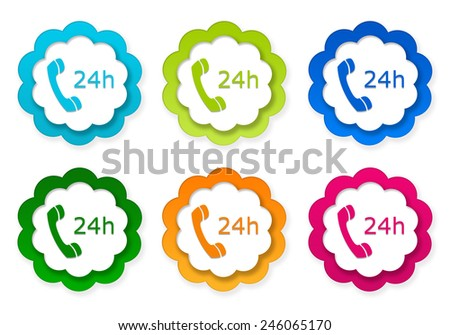 Set of colorful stickers icons to symbolize attention 24 hours in blue, green, pink and orange colors - stock photo