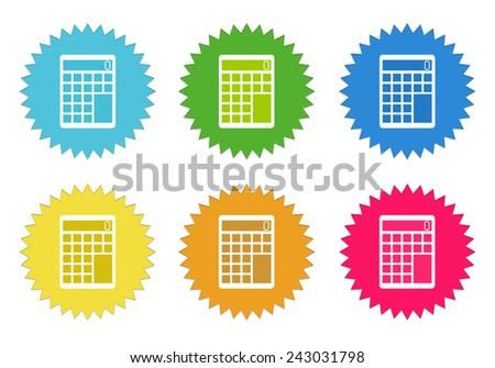 Set of colorful stickers icons with calculator symbol in blue, green, yellow, red and orange colors - stock photo