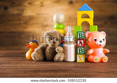 Set of colorful toys for kids