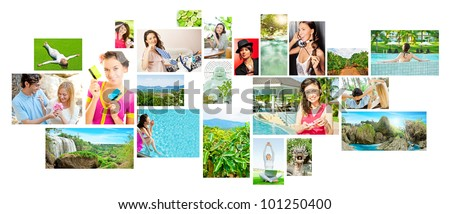 Set of colorful travel photos of nature, people, landmarks and touristic related destinations isolated on white background
