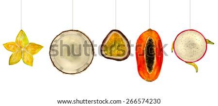 set of colorful tropical fruits: carambola, coconut, maracuja (passion fruit), papaya, dragon fruit (pitahaya). hand-painted watercolor - stock photo