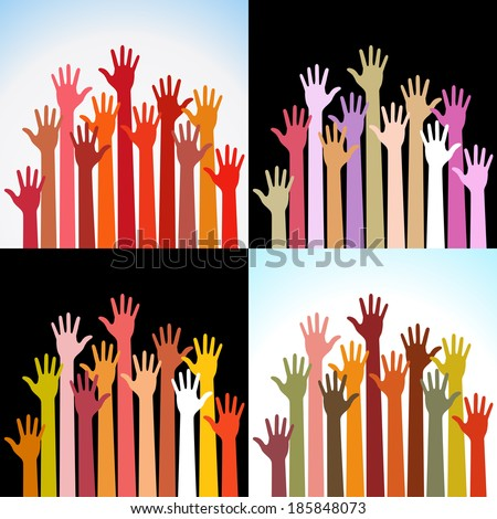 Set of colorful up hands, raster illustration