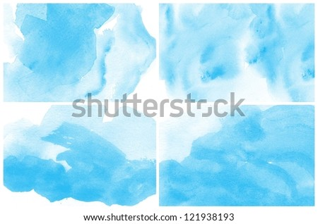 Set of colorful various Abstract blue watercolor art background hand paint
