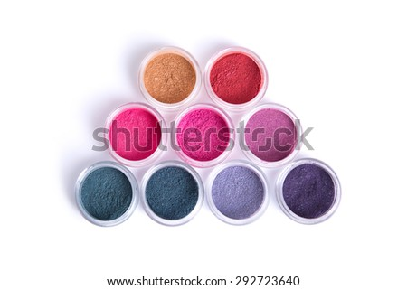 Set of colorful vegan eye shadows, top view isolated on white background  - stock photo
