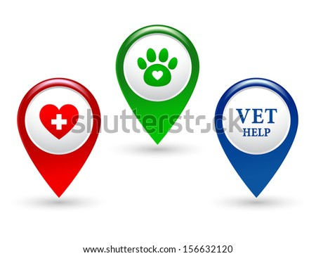 set of colorful veterinary pointers with paw and heart - stock photo