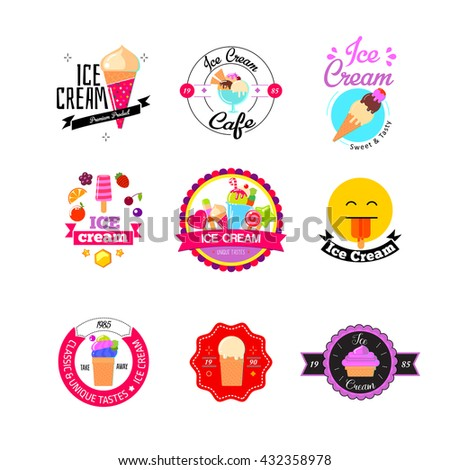 Set of colorful vintage and modern ice cream shop logo badges and labels. Flat ice cream stickers. - stock photo