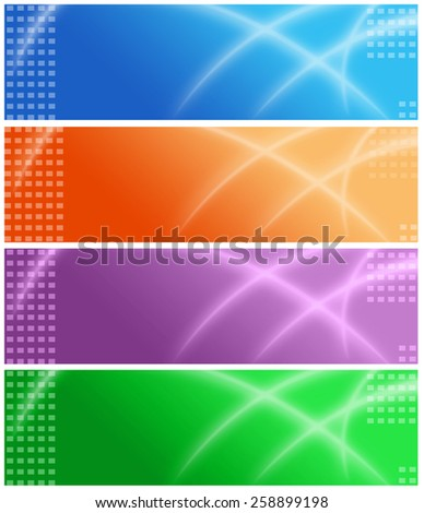 Set of colorful web site headers / banners for travel , business or technology related web sites