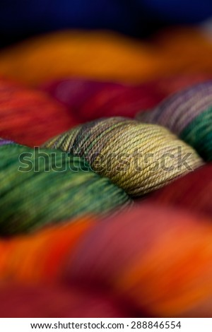 Set of colorful wool yarn balls. Closeup photo. - stock photo