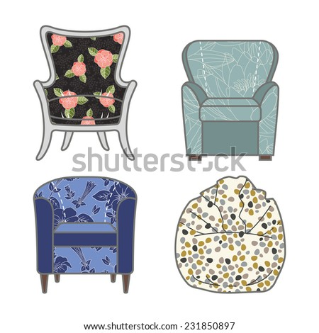 Set of colorfull and patterned armchairs.  illustration