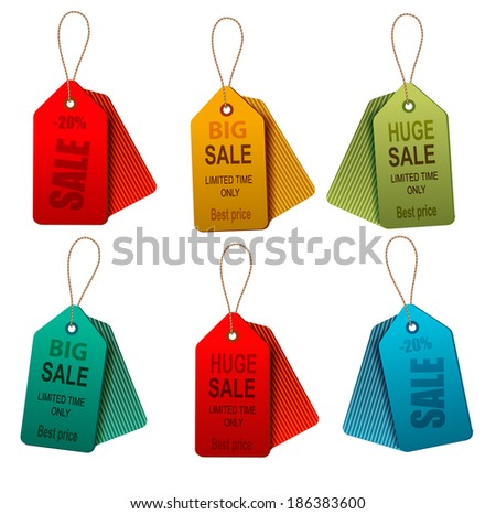Set of colorrful sale tags. Concept of discount shopping. Raster version - stock photo