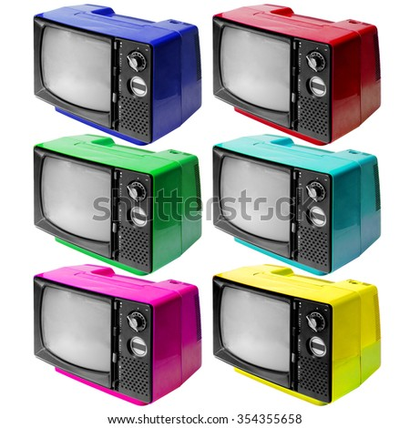 Set of colotful vintage analog television isolated over white background, clipping path. - stock photo