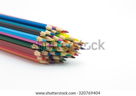 Set of colour pencils on white background - stock photo