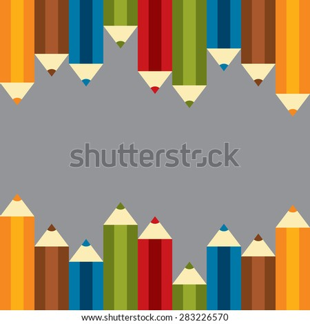 Set of Colourful Crayon, Coloured Pencils, Colored Drawing Pencils in a Variety of Colors - stock photo