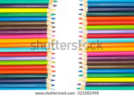 Set of colours wooden pencils on white background - stock photo