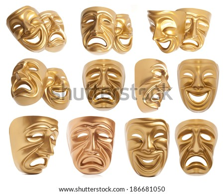 Set of Comedy and  Tragedy theatrical mask isolated on a white background - stock photo