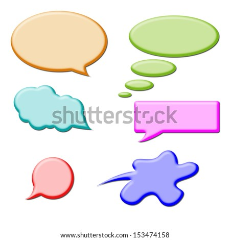 Set of Comic Clouds and bubbles - stock photo