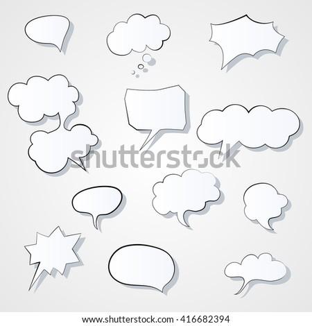 Set of comic 3d speech bubbles icon. Thought bubble Graphic illustration - stock photo