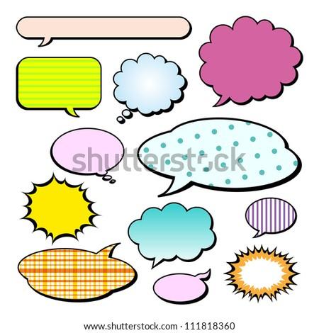Set of comic style speech bubbles - stock photo