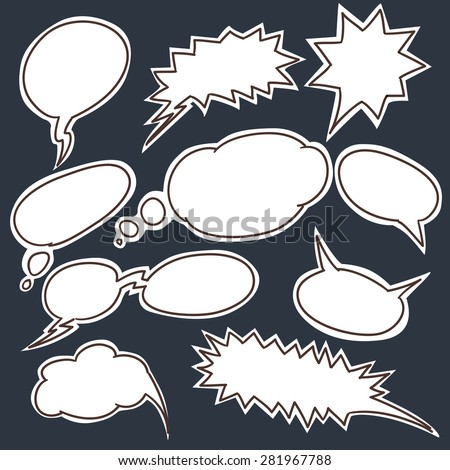 Set of comic style talk clouds. Raster version - stock photo