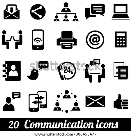 Set of 20 communication icons. Communication icons Illustration. Communication icons jpeg