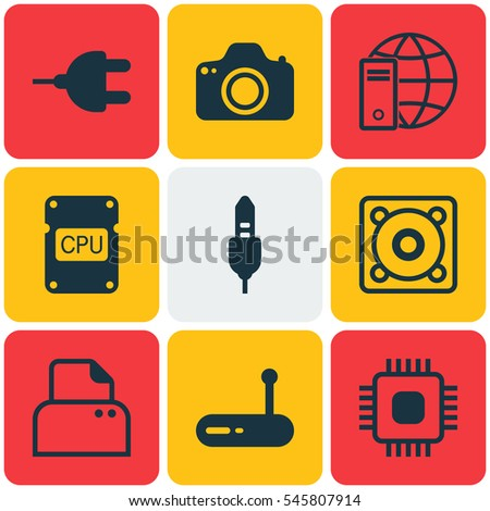 Set Of 9 Computer Hardware Icons. Includes Cpu, Aux Cord, Internet Network And Other Symbols. Beautiful Design Elements.