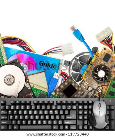 Set of computer hardware. Isolated on white - stock photo