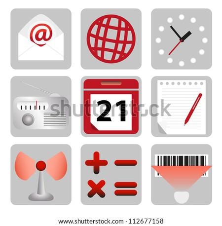 Set of computer icons - stock photo