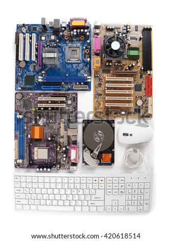 Set of computer parts isolated on white - stock photo