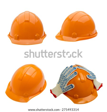 Set of construction helmet shot isolated on white. collection - stock photo