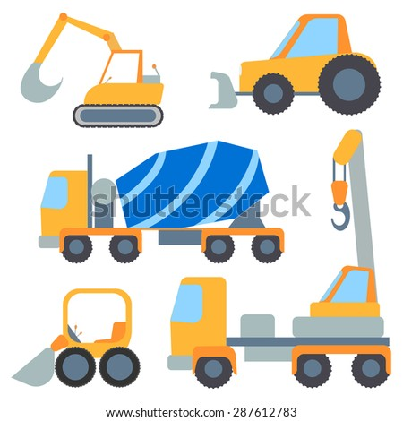 Set of construction machinery for repairs and loading, painted in the style of flat color.  Illustration