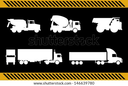 set of construction machinery trucks isolated  - stock photo