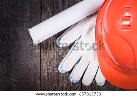 Set of construction tools close-up on wooden background