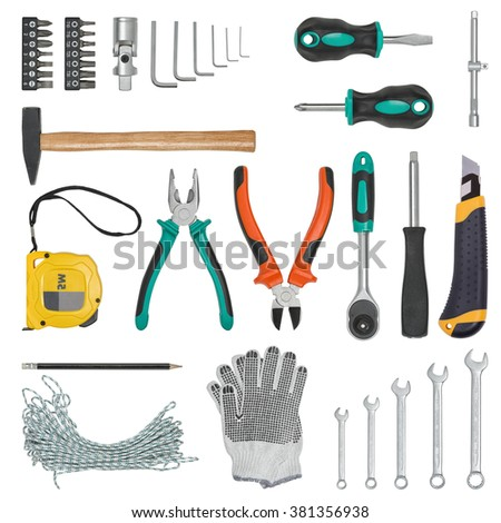 Set of construction tools isolated on a white background. Tape measure, wrench, spanner, hammer, cutter, pliers. gloves, rope, screwdriver