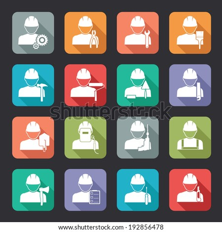 Set of construction worker flat style icons in white silhouettes on colourful web buttons each worker coupled with his tools of the trade - stock photo