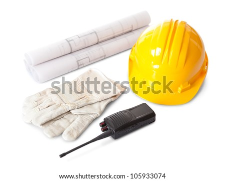 Set of constructions worker objects. Isolate don white