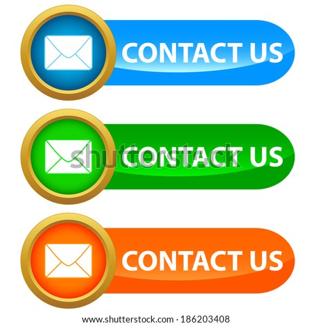 Set of contact us buttons - blue, green and orange - stock photo