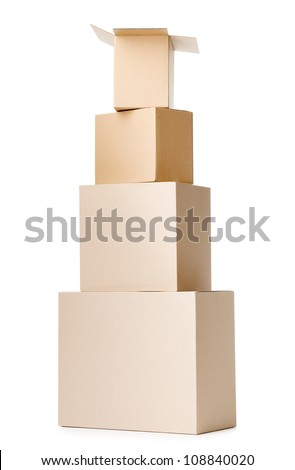 Set of containers, isolated, white background - stock photo
