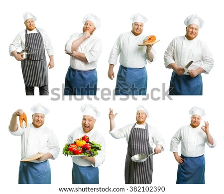 Set of cooks isolated on white - stock photo