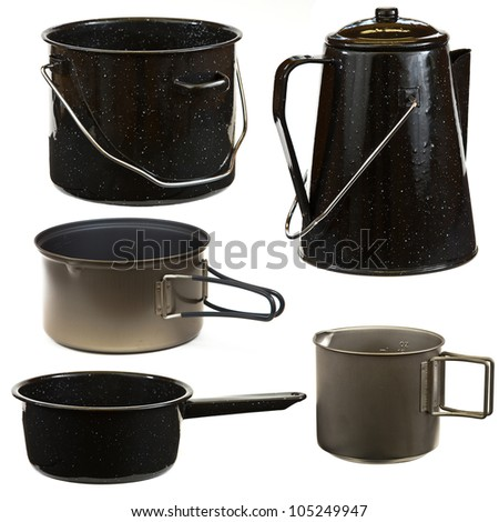 Set of cookware isolated on a white background.