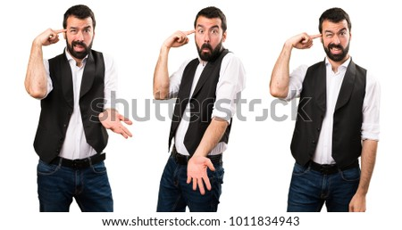 Set of Cool man making crazy gesture