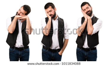 Set of Cool man making sleep gesture